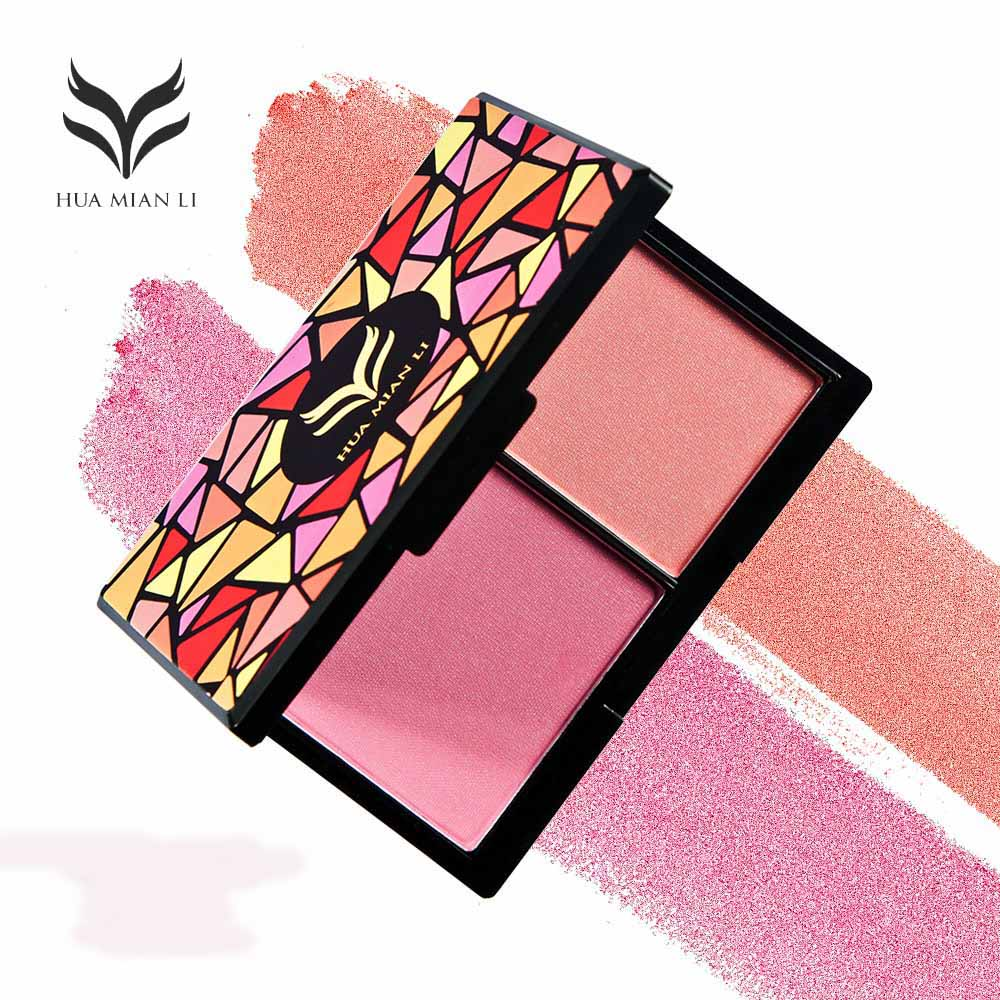 HUAMIANLI Blusher Powder Makeup Palette Double Color Matte Shimmer Pigmented Face Blush Cosmetic Kit Palette