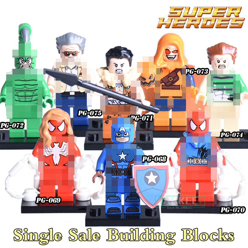 1PC New Marvel Building Blocks Founder Stan Lee Super Heroes Star Wars Captian America  Best Kids Education Learning DIY Toys marvel comics stan lee the new mutants 98 dead pool 1st appearance unsigned 11x17 comic cover photograph