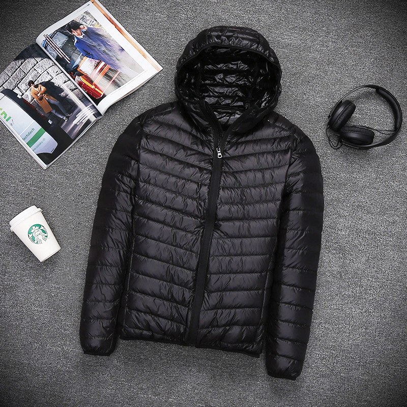 2018 autumn winter mens Lightweight thin Hooded down jacket Standing collar zipper coat male Solid color Large size outwear 5XL