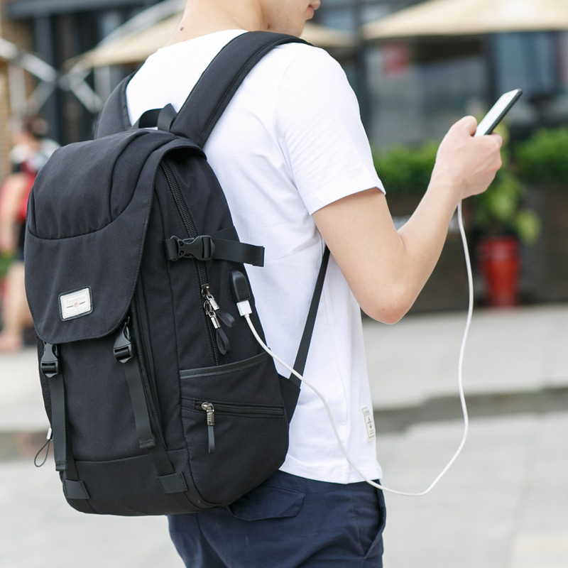 FRN Leisure Multifunction Men Laptop Backpack England Style Travel Backpack Boy Student Backpack with USB Charger for Teenagers