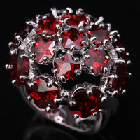 Big Hydrangea Red Garnet White Gems 925 Sterling Silver Fashion Jewelry High Quality US Solitaire Rings