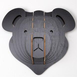 Ours de sculpture sur bois nodique pour la décoration murale, artisanat en bois pour enfants, décoration de maison en bois animal, ornement de tête d'animal