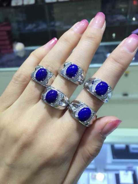 Natural blue lapis lazuli Ring Natural gemstone Ring 925 sterling silver trendy Luxury big heavy Square women  men party Jewelry