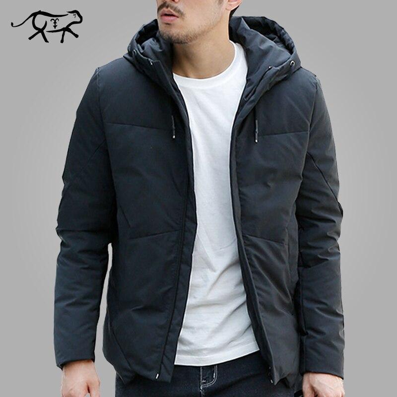 Chaqueta de invierno para hombre abrigada con capucha abrigo de moda Casual marca abajo Parka chaqueta masculina y Abrigo con capucha prendas de abrigo talla grande