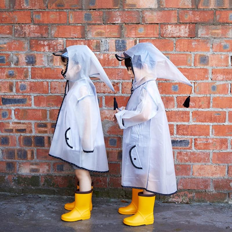 ZT Cute White Transparent Elf Waterproof Nylon Rain Children Windproof Poncho Kindergarten Student Baby Raincoat JJ-SYYY119-