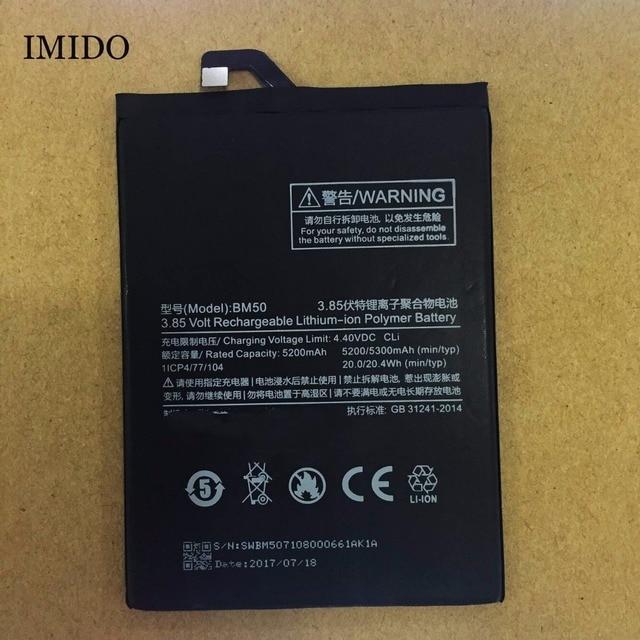 US $8 99 |IMIDO For Xiaomi BM50 5200/5300mAh Battery For Xiaomi Mi Max 2  Max2 Battery Batterie Bateria Accumulator Smart Phone -in Mobile Phone