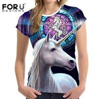 FORUDESIGNS 3D Unicorn T Shirt For Women Tops Kawaii Summer Ladies T Shirt Funny Woman Tees