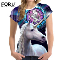 FORUDESIGNS 3D Unicorn T Shirt For Women Tops Kawaii Summer Ladies T Shirt Funny Woman Tees