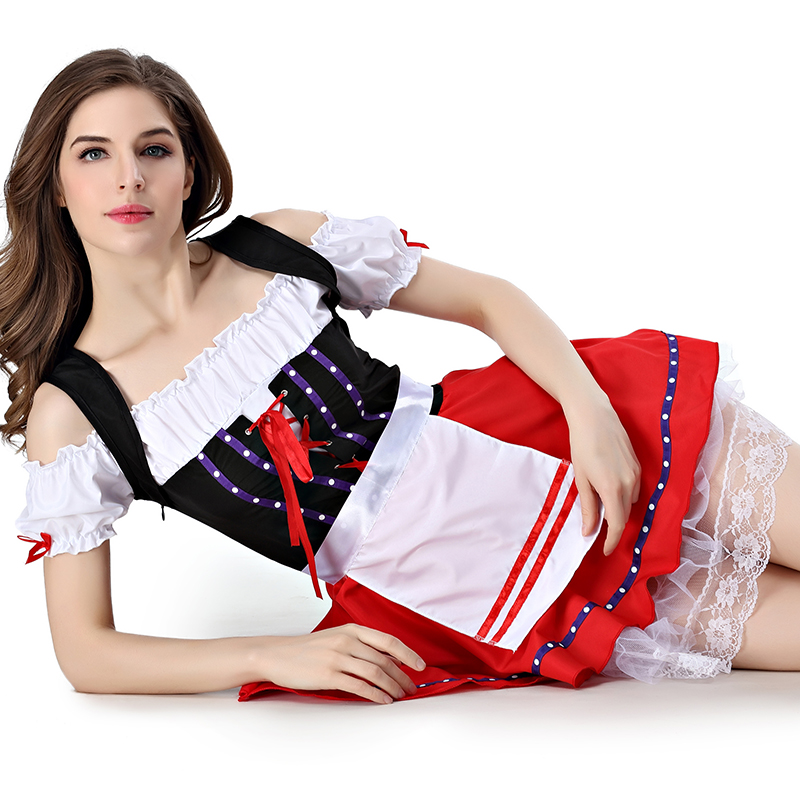 Sexy Costumes Dresses Womens Christmas Lingerie Set Lace Maid Costume with G-string Uniform Cosplay European and American Style