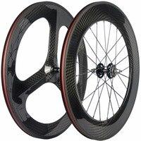 Clincher Carbon Wheels Fixed Gear 70mm 3 Spoke Wheel 88mm Clincher Carbon Wheelset 12K Track Bike