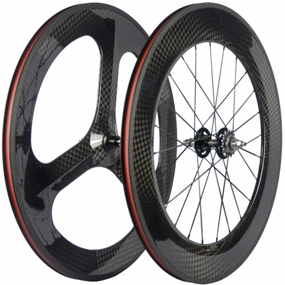 Clincher Carbon Wheels Fixed Gear 70mm 3 Spoke Wheel 88mm Clincher Carbon Wheelset 12K Track Bike Wheels стоимость
