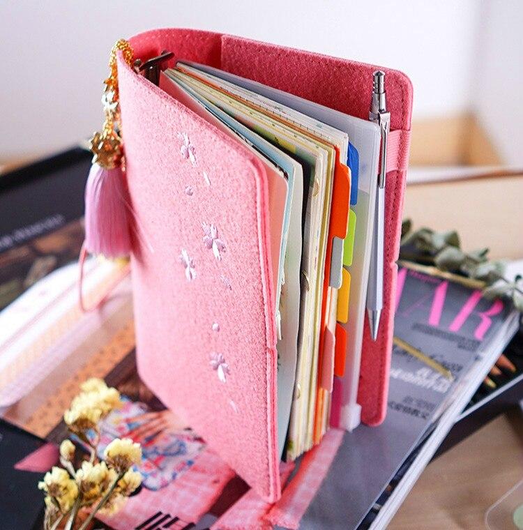 Image 3 - A5/6 Corea lindo fieltro planificador cuaderno suministros de papelería japonés Sakura diario libreta personal espiral anillo carpeta planificador-in Cuadernos from Suministros de oficina y escuela on AliExpress