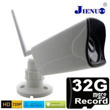 Ip 카메라 야외 720 p 무선 내장 마이크로 sd 32g 기록 미니 cctv 보안 시스템 와이파이 ipcam 감시 적외선 방수