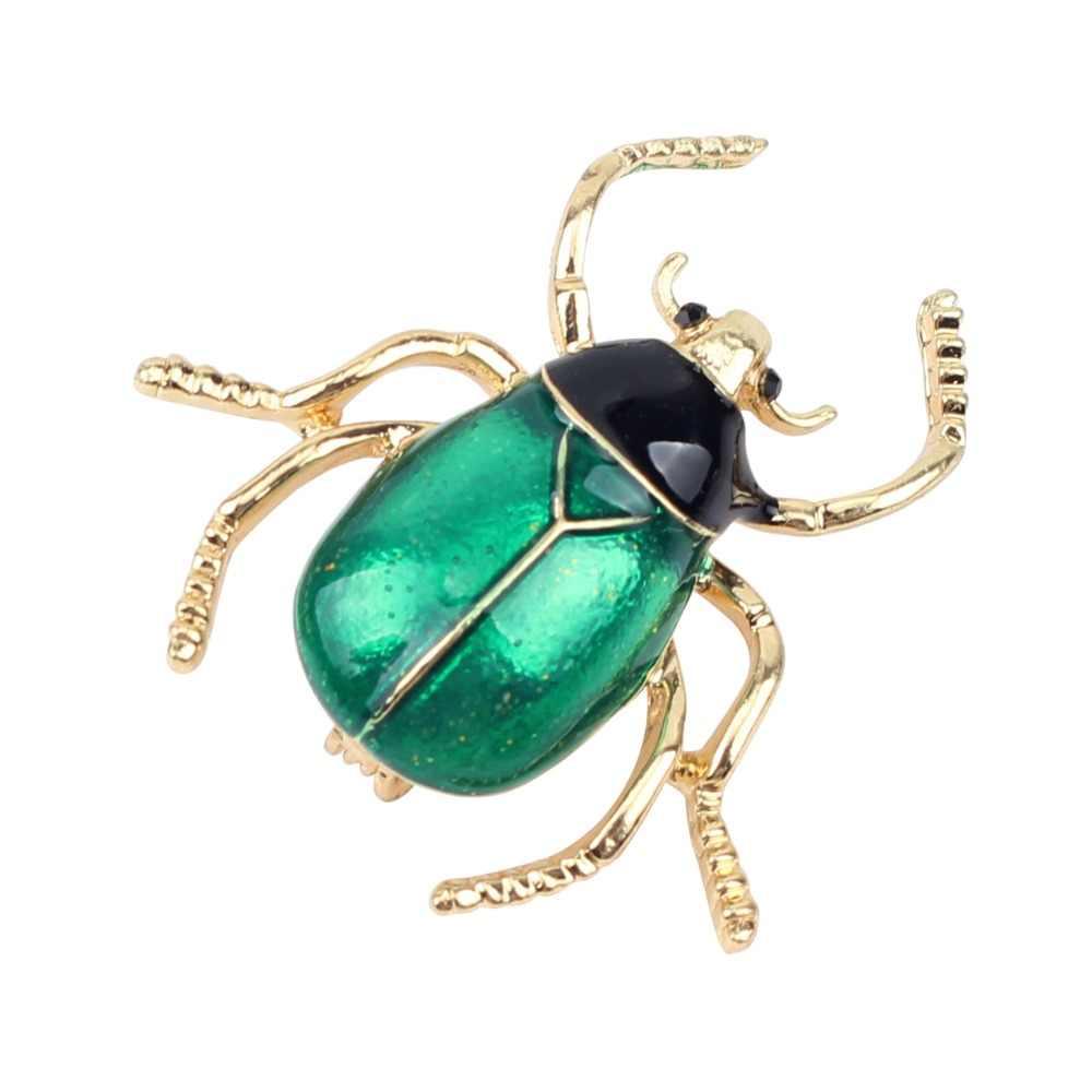 Bonsny Della Lega Dello Smalto Beetle Insetto Spilla Pin Per Le Donne Signore Vestiti Sciarpa Decorazione Accessori Regalo Dei Monili di Modo 2018 Nuovo