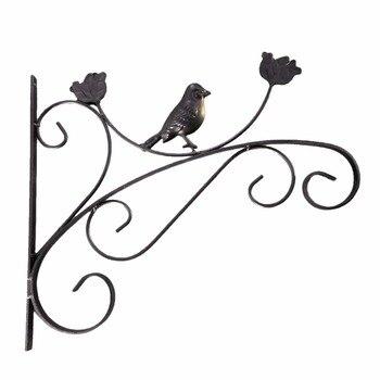 2018 New European Style 1 Pcs Iron Art Wall-mounted Flower Hook Shelf Eco-friendly Hanging Basket Flowerpot Holder - Black S line art