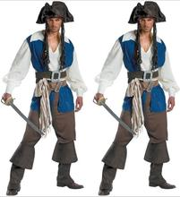 Mens Ahoy Matey High Seas Pirate Costume Adult Buccaneer Captain Fancy Dress Jack Sparrow  Cosplay outfit