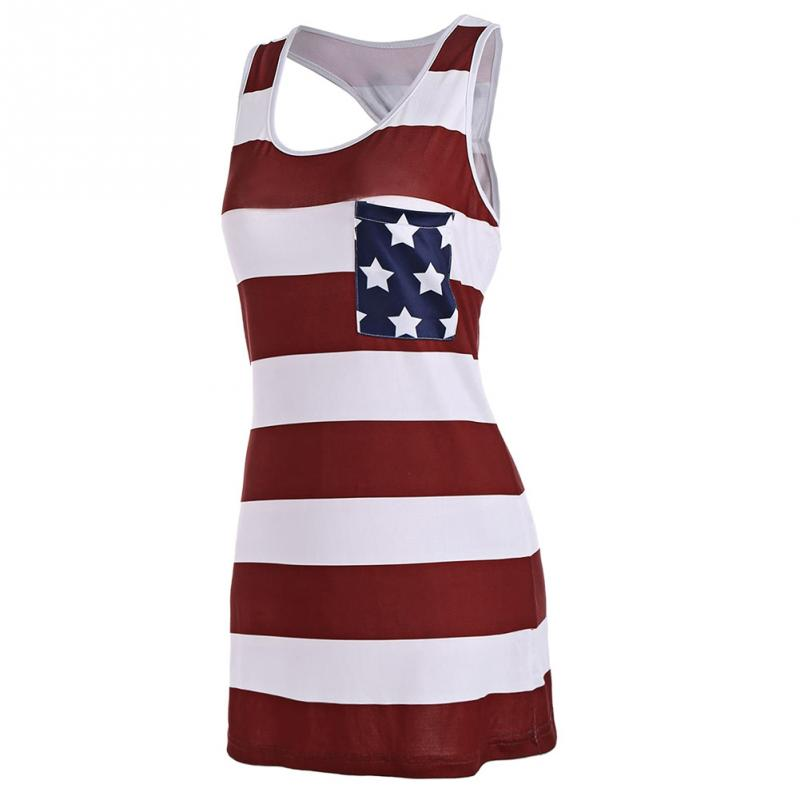 95a95eb4af1 Summer Women sexy print American Flag Stars and Stripes Casual Dress Tank  Dress-in Dresses from Women s Clothing   Accessories on Aliexpress.com