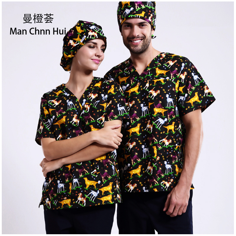 Veterinary Print Cartoon Medical Clothings For Slim Fit Uniforme Enfermera Uniformes Clinicos Mujer Dental Spa Salon Workwear