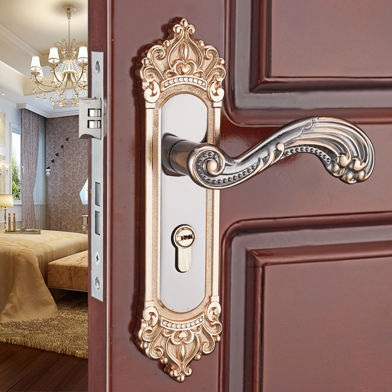 Aluminum alloy mechanical solid wood door lock indoor bedroom door lock handle lock bathroom door handle split door lock indoor bedroom aluminum doors locks handle american style solid wood