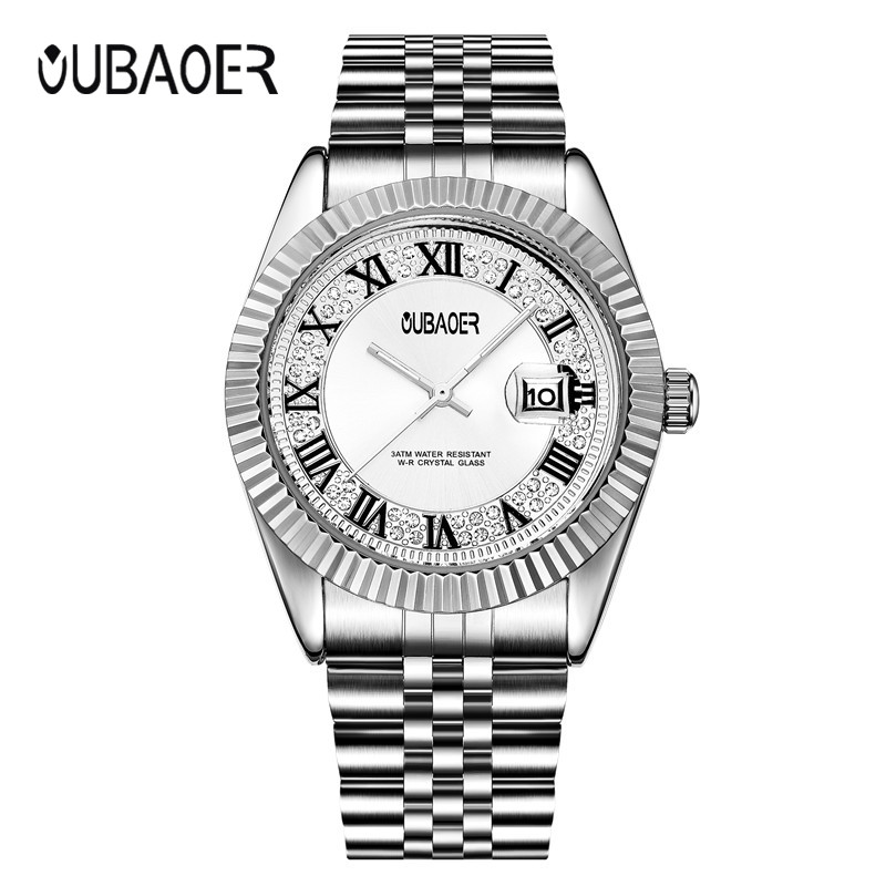 Quartz Ladies Wristwatch female Rhinestone Dial OUBAOER Top Brand luxury Watch Women Dress watches Montre Femme Reloj Mujer montre femme watch woman pu leather quicksand rhinestone quartz watch bracelet watches ladies wristwatch discount reloj mujer