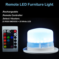 1Pc Rechargeable IR Remote Controlled Multicolor RGB LED Under Table Light For Weeding Party Event Table