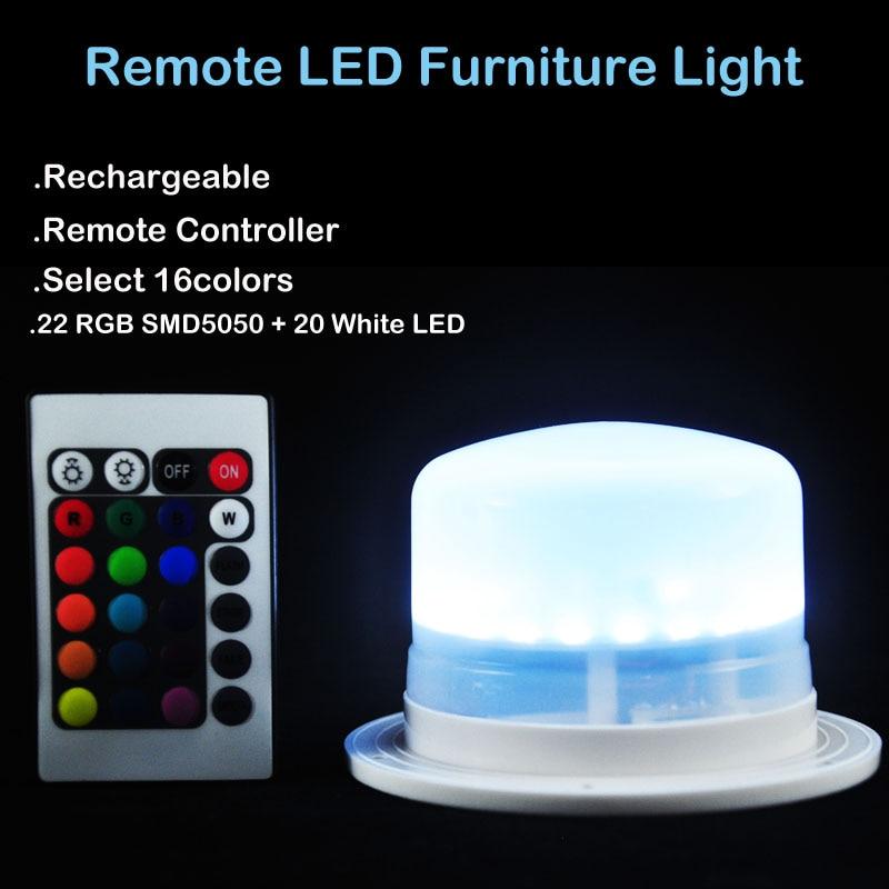 1Pc * Επαναφορτιζόμενη τηλεχειριστήριο IR Τηλεχειριζόμενο Πολύχρωμο RGB LED κάτω από το φως του τραπεζιού