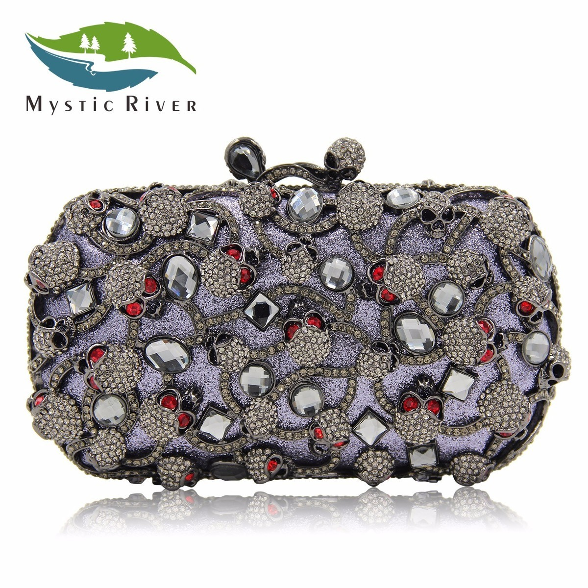 Mystic River Brand Crystal Clutch Gift Bags Halloween Skull Party Handbag сумка river island river island ri004bwzyz56
