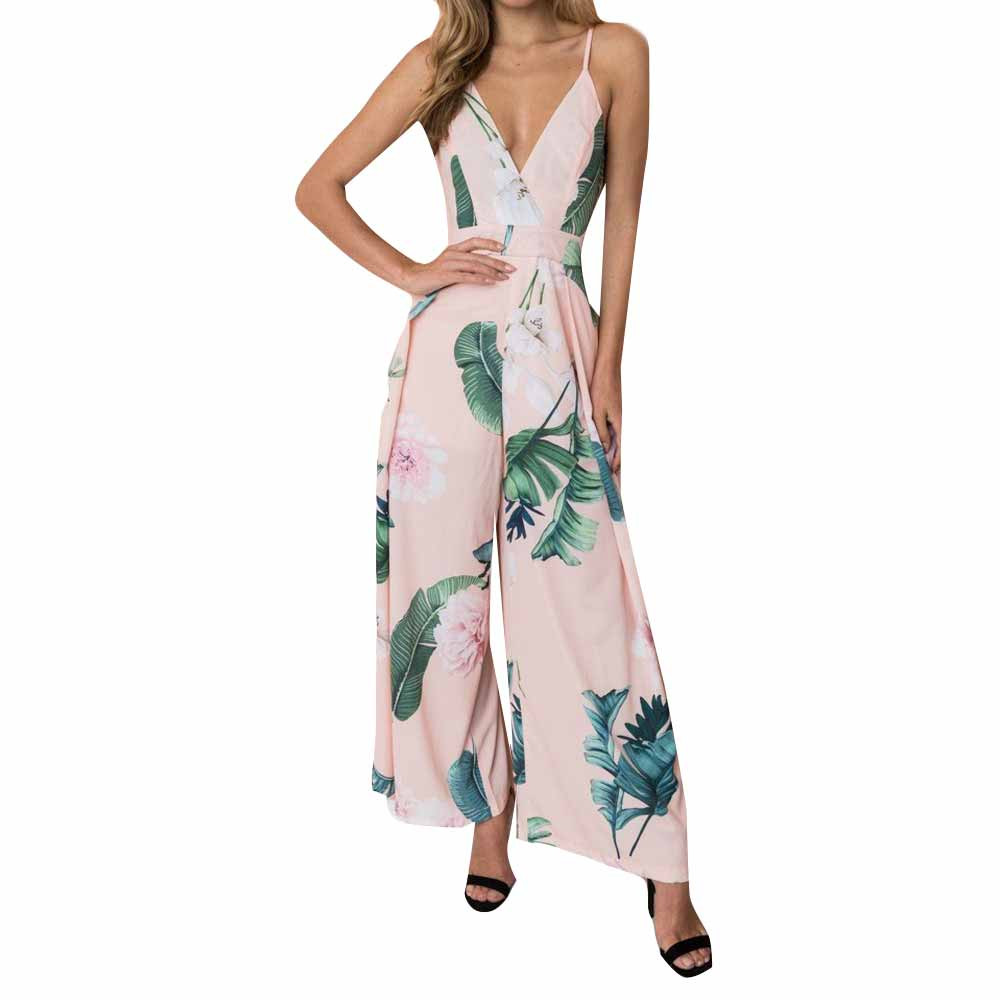 Hot Sale Women Sexy Strappy Jumpsuit Floral Print Wide Leg Long Pants Backless Rompers 80625 Free Shipping
