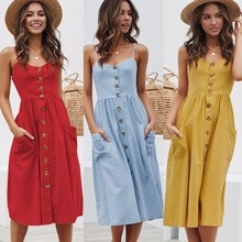 VOZRO Elegant Button Women Dress Polka Dots Red Cotton Midi Dress 2019 Summer Casual Female Plus Size Lady Beach Vestidos