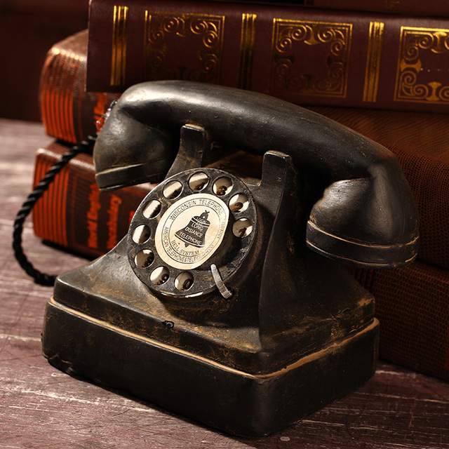 ZAKKA Groceries Vintage Home Decoration Movie Props Crafts Old Telephone Replica  Model,7.4''