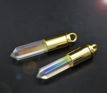 YA1558 Titanium AB Clear Quartz Point Bullet Pendant Gold color 50x10mm(China)
