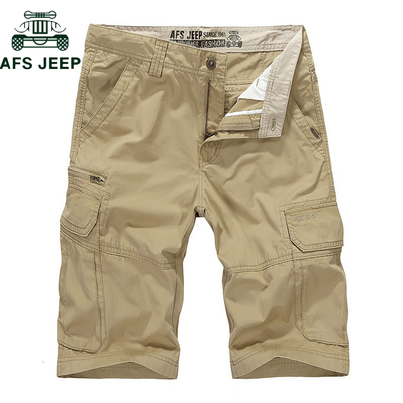 AFS JEEP Brand Summer Multi-pocket Cotton Cargo Shorts Men Casual Loose Knee-length Mens Shorts Military Tactical Homme Shorts