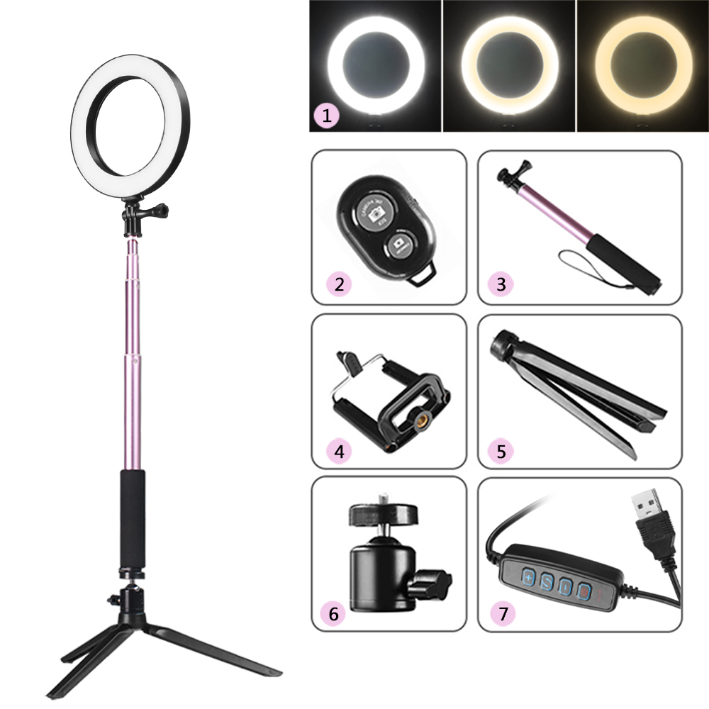 Photography Lighting Dimmable Led Selfie Ring Light Youtube Video Live 3500 5500k Photo Studio Light Ring Lamp With Tripod