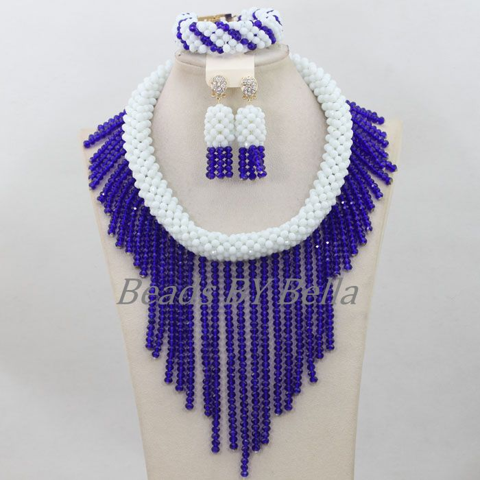 Latest Royal Blue Nigerian Wedding Beads African Bridal Jewelry ...