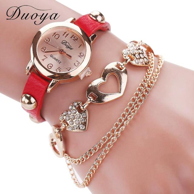 #5001 Fashion Leisure Woman Watch Duoya Femmes Mode Casual Bracelet En Cuir Mont