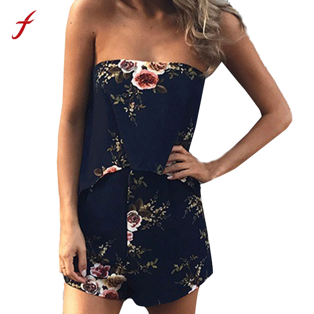 Feitong 2017 sexy off shoulder women jumpsuit Flower Print slash neck summer bodysuit Crop Top Sleeveless femme beach Jumpsuit