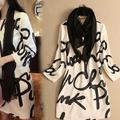 Lady casual dress Letters printed sleeve dress plus size white ol dress with Scarf