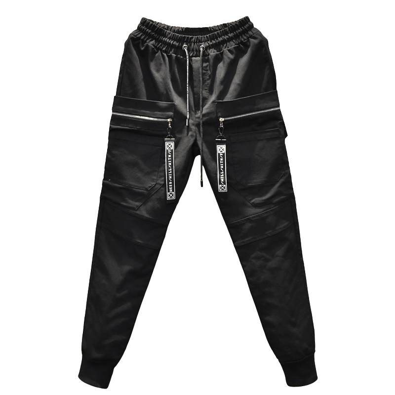 2018 Spring Summer Male Work Clothes Bound Pants Dark Elastic Force In The Tide Evening Show Haren Leisure Time Dress black