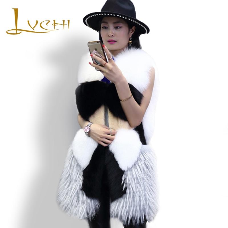 LVCHI móda sladká liška srst vznešená okouzlující zimní dámské vesty kožešinová vesta dámská originální nová desgin kožešina plus velikost