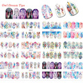 12 Designs Nail Sticker Windmill Patterns Decals Water Transfer Image Tattoos Nail Art Decorations Sticker Tips Set BN301-312
