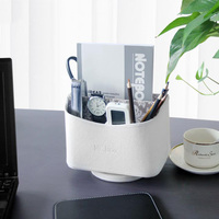 360 Rotation Multi function Desk Stationery Organizer PU Pen Holder Pens Home Container for Office Accessories House Supplies