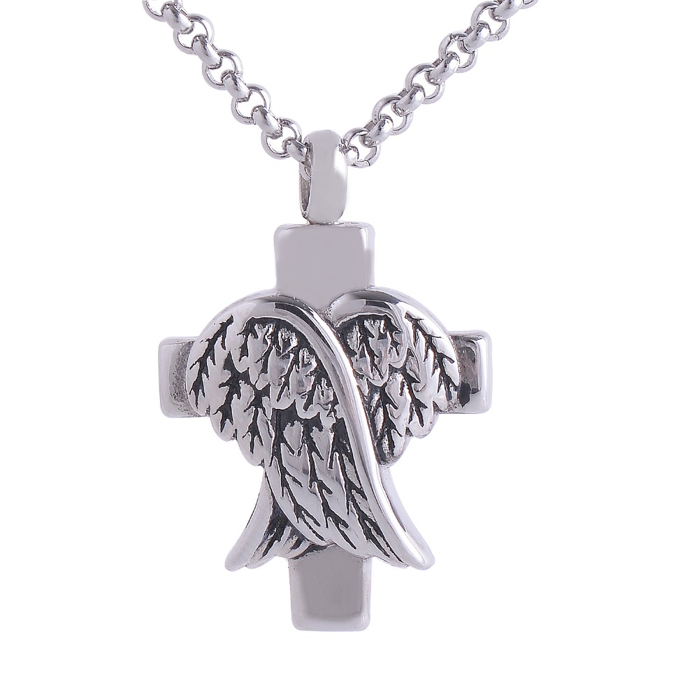 Cremation Screw Memorial Pendant Cross And Angel Wings Urn