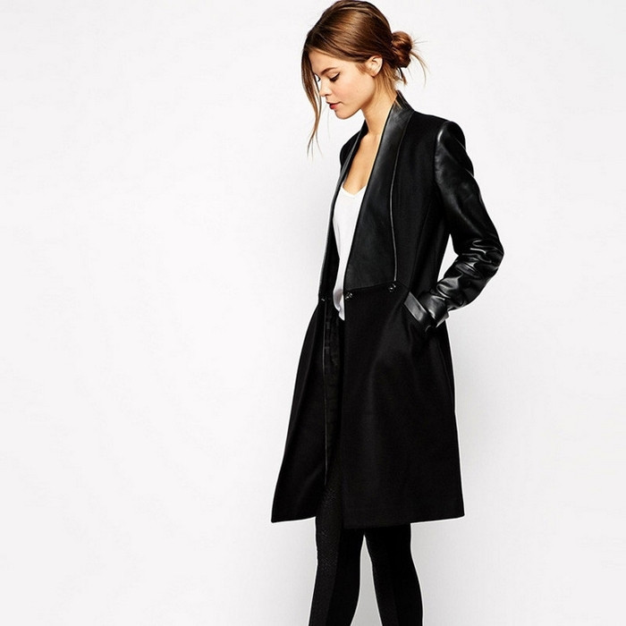 2015 Autumn Winter Elegant Fashion Overcoat Black Contrast PU Leather Pockets Woolen Patchwork Female Coat
