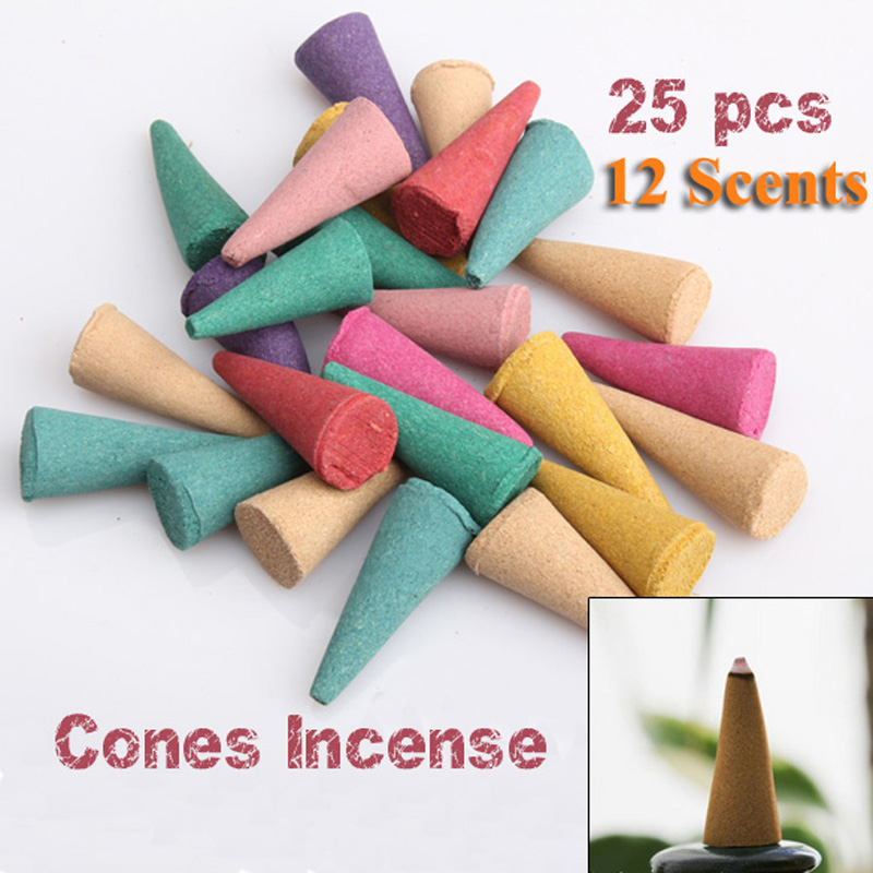 25 Mix Stowage Colorful Fragrance Triple Scent Incense Cones Home Decor Incienso Encens