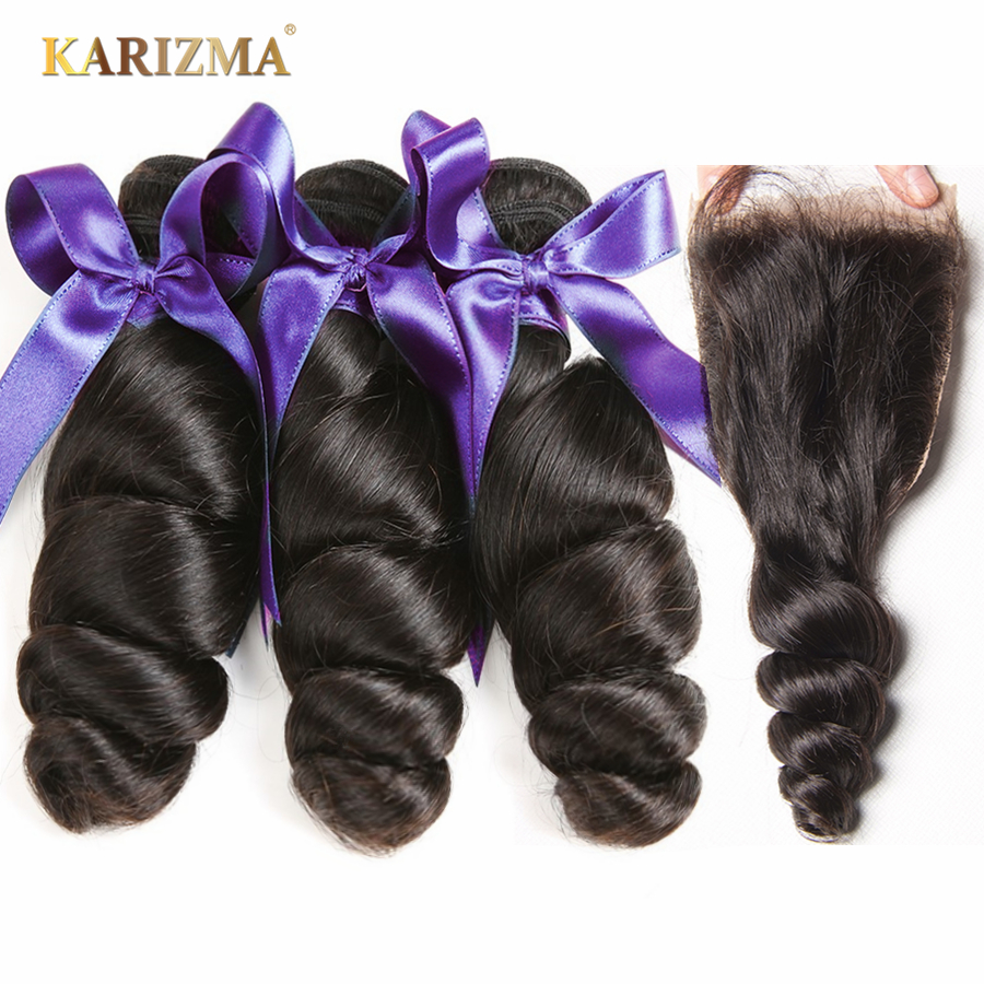 Karizma Indian Loose Wave 3 Bundles With Closure Free Part Non Remy Human Hair Weave Bundles With Closure No Shed Tangle Free