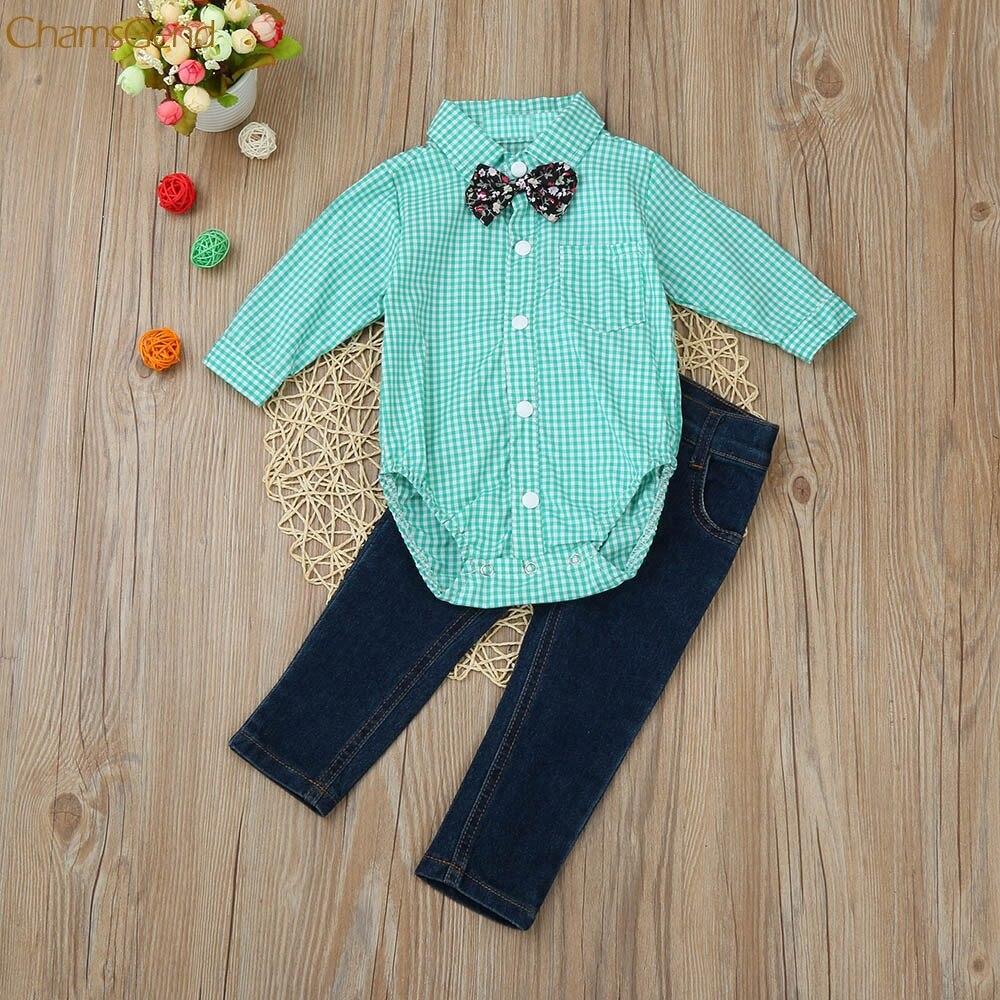 Kinderkleding Peuter Kids Baby Jongens Outfit Kleding Tie Plaid Tops Shirt + Jeans Lange Broek 1 Set Meisjes Kleding