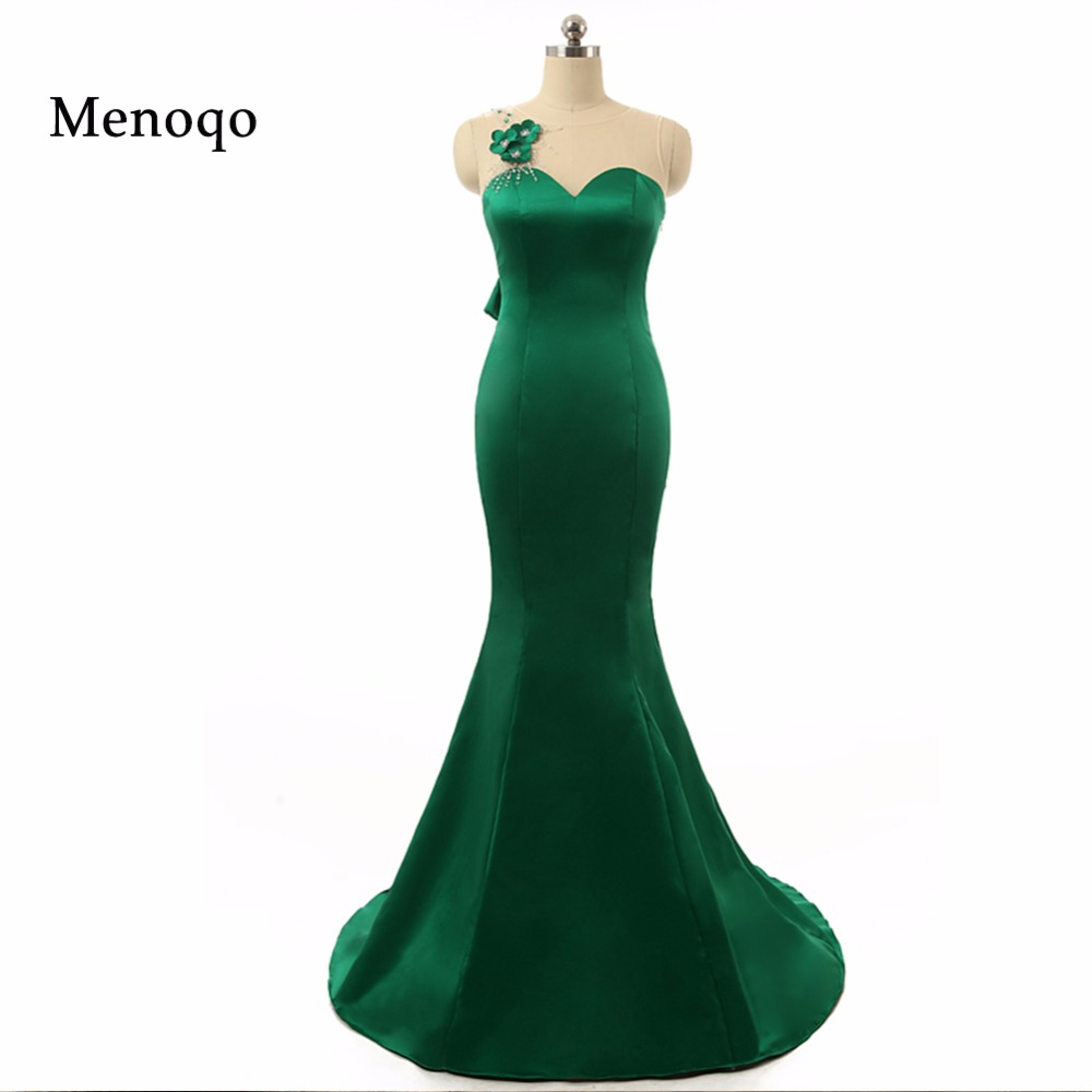 2018 Real Photos Mermaid Sleeveless Sheer Back Applique Beaded Back Bow Robe de soiree Real Sample Green   prom     dresses   for women