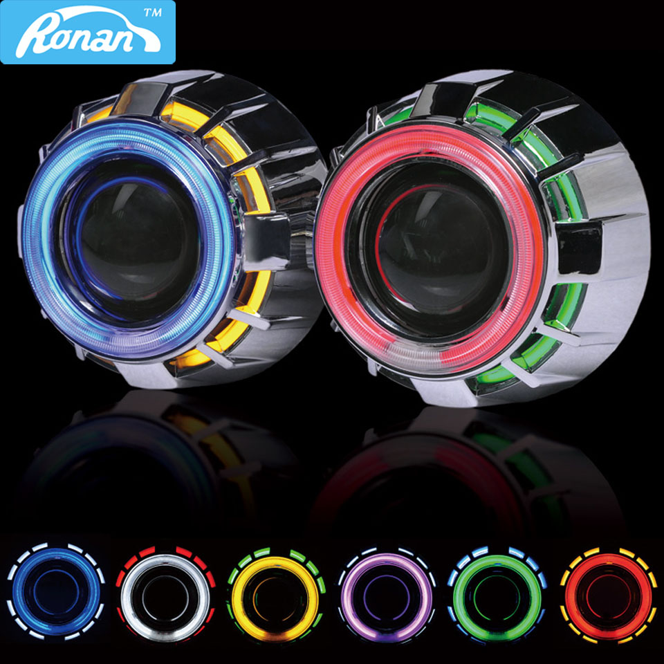 RONAN 2.5 Double CCFL Demon Angel Eyes Bi-xenon HID Projector headlight Lens LHD RHD use xenon H1 with H4 H7 adapter car styling lhd 3 inch hid bixenon projector lens double angel eye ccfl h7 h4 2pcs 35w slim ballasts 4300k 6000k 8000k use h1 xenon bulb