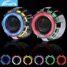 Compare Prices RONAN 2.5 Double CCFL Demon Angel Eyes Bi-xenon HID Projector headlight Lens LHD RHD use xenon H1 with H4 H7 adapter car styling