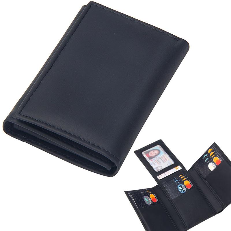 New Genuine Leather Trifold Black Wallet Men Multifunction Solid Credit Card Holder Purse Men's Short Purse Business Mini Clutch